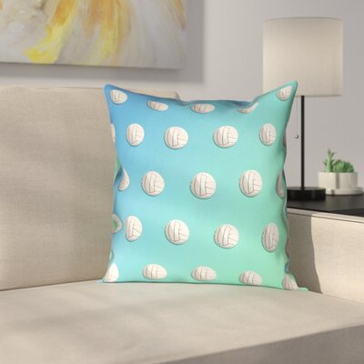 Volleyball 100% Cotton Pillow Cover Size: 14 x 14, Color: Blue/Green