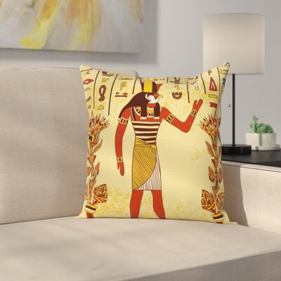 Ethnic Egyptian Hieroglyph Myth Square Pillow Cover Size: 24 x 24