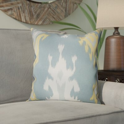 Emmitt Ikat Cotton Throw Pillow Color: Light Blue, Size: 18 H x 18 W