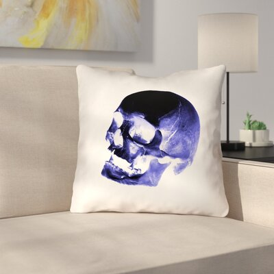 Skull Outdoor Throw Pillow Color: Blue/Black/White, Size: 16 x 16