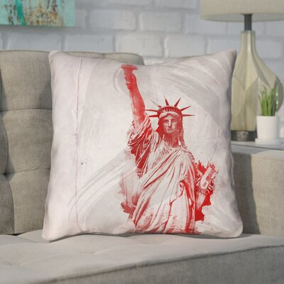 Houck Watercolor Statue of Liberty Linen Throw Pillow Size: 14 x 14