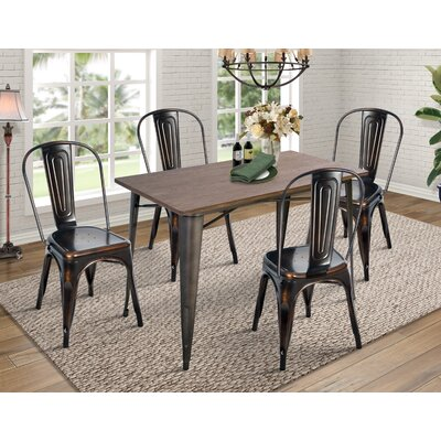 Croley 5 Piece Dining Set Chair Color: Antique Golden Black