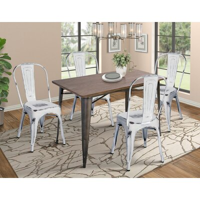 Croley 5 Piece Dining Set Chair Color: Antique Black