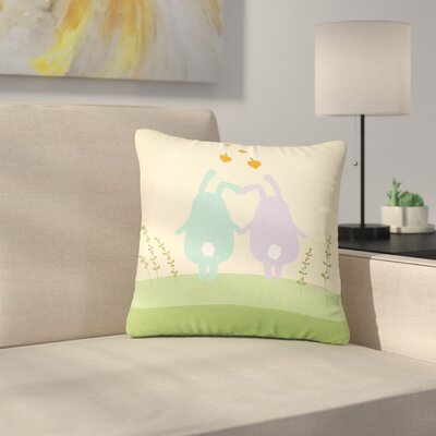 Cristina Bianco Cute Bunnies Beige Wildlife Outdoor Throw Pillow Size: 18 H x 18 W x 5 D