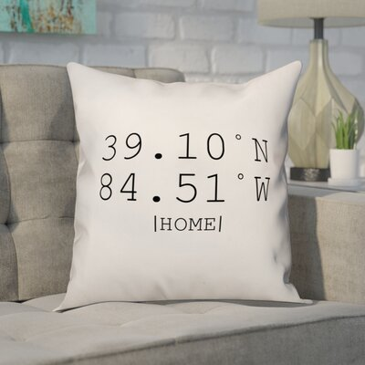 Buntin Longitude and Latitude Coordinates Throw Pillow