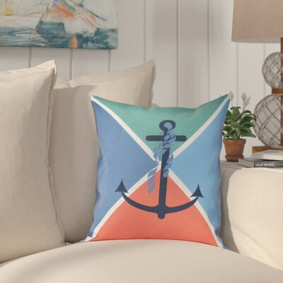 Hancock Anchor Flag Geometric Print Throw Pillow Size: 26 H x 26 W, Color: Green