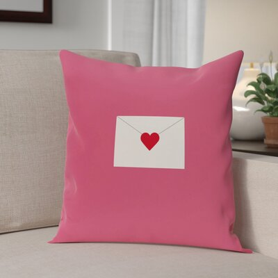 Valentines Day Outdoor Throw Pillow Size: 18 H x 18 W, Color: Pink