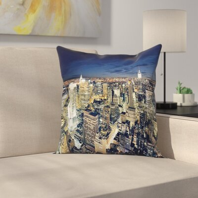 Modern Cityscape at Night Square Pillow Cover Size: 24 x 24