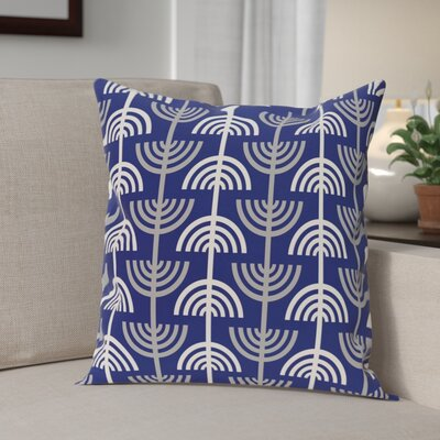Holiday Geometric Print Menorah Abstract Throw Pillow Size: 26 H x 26 W, Color: Blue