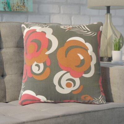 Zona Floral Cotton Throw Pillow Color: Black