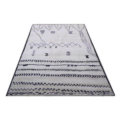 Genuine Moroccan Hand-Knotted Wool Navy Area Rug
