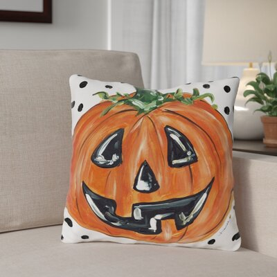 Halloween Pumpkin Dots Throw Pillow Size: 16 x 16