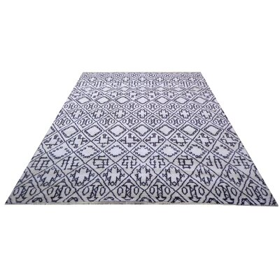 Genuine Moroccan Hand-Knotted Wool Ivory Area Rug
