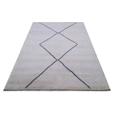 Moroccan Genuine Hand-Knotted Wool Gray/Blue Area Rug Rug Size: Rectangle 85 x 105
