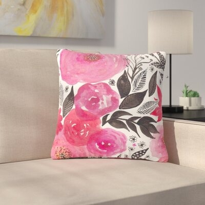 Li Zamperini Garden Rose Floral Outdoor Throw Pillow Size: 18 H x 18 W x 5 D
