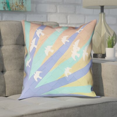 Enciso Birds and Sun Square Pillow Cover Color: Blue/Orange, Size: 16 x 16