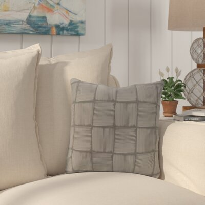 Brisa Basketweave Geometric Outdoor Throw Pillow Color: Gray