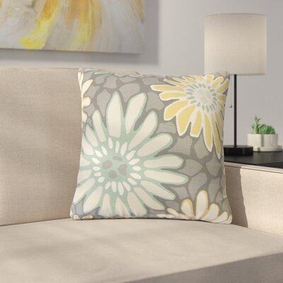 Strock Floral Cotton Throw Pillow Color: Gray