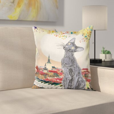 Cat City Skyline Kitty Piano Square Pillow Cover Size: 16 x 16