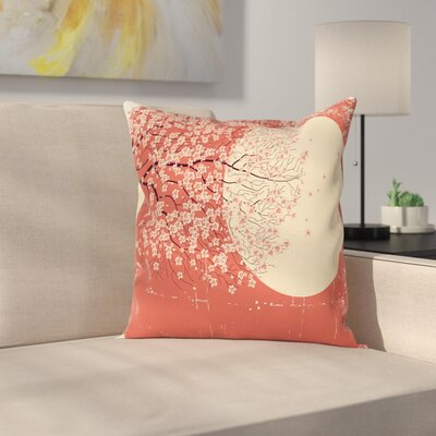 Japanese Cherry Sakura Blossoms Cushion Pillow Cover Size: 24 x 24