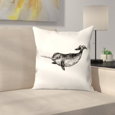 Jetty Printables Narwhal Illustration Throw Pillow Size: 14 x 14