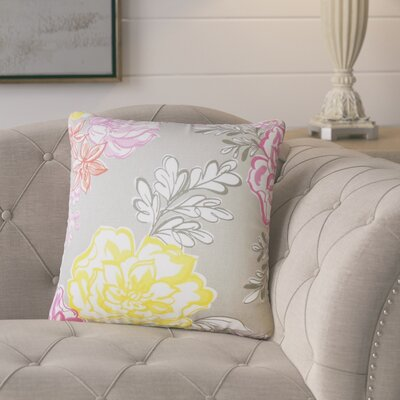 Goodrich Floral Down Filled 100% Cotton Throw Pillow Size: 18 x 18, Color: Mineral