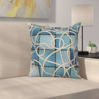 Denim Patchwork Rope Square Pillow Cover Size: 18 x 18