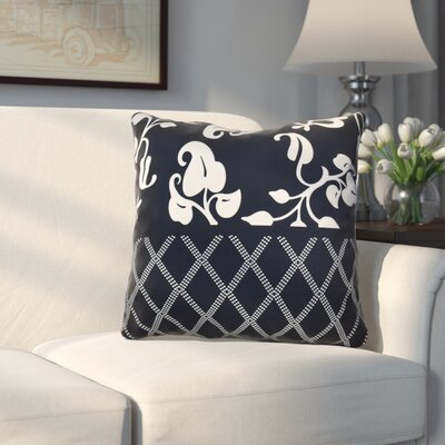 Decorative Holiday Floral Print Outdoor Throw Pillow Size: 16 H x 16 W, Color: Navy Blue