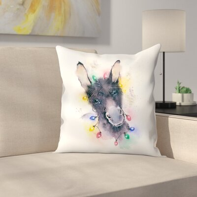 Donkey Xmas Lights Throw Pillow Size: 18 x 18