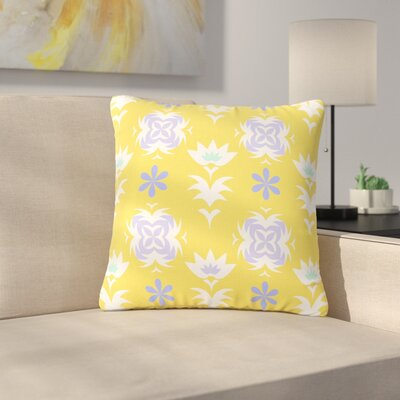 Alison Coxon Edwardian Tile White Outdoor Throw Pillow Size: 18 H x 18 W x 5 D, Color: Yellow