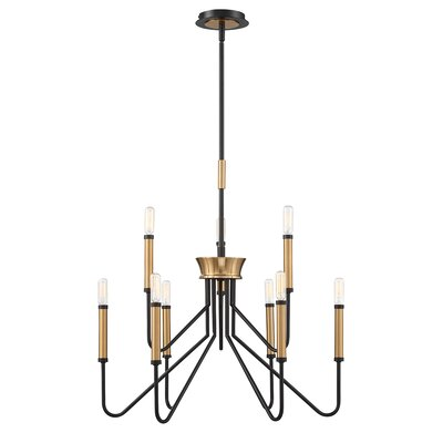 Hofer Duo-Tone 9-Light Candle Style Chandelier