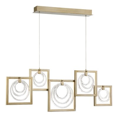 Luman Glass Rings 5-Light LED Kitchen Island Pendant