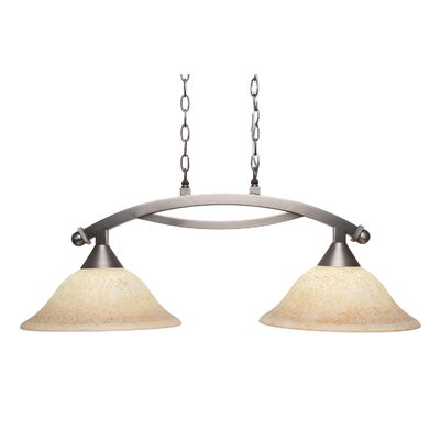 Blankenship 2-Light 100W Metal Kitchen Island Pendant Color: Brushed Nickel