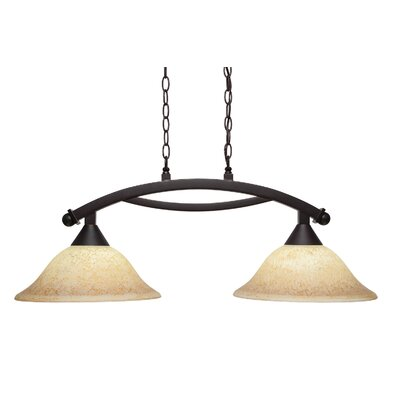 Blankenship 2-Light 100W Metal Kitchen Island Pendant Color: Bronze