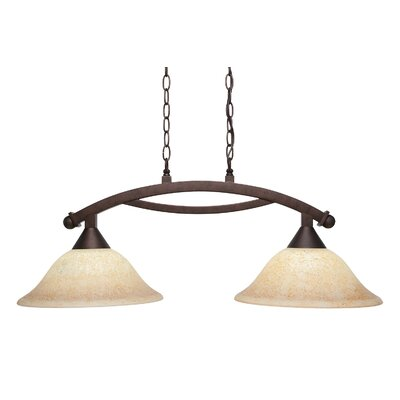 Blankenship 2-Light 100W Metal Kitchen Island Pendant Color: Dark Granite