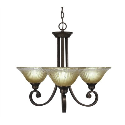 Babin 3-Light Shaded Chandelier Shade Color: Amber