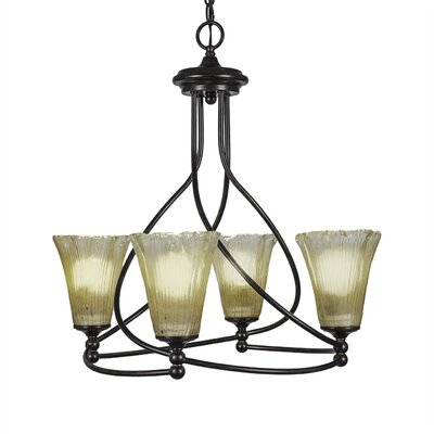 Capri 4-Light Shaded Chandelier Shade Color: Amber