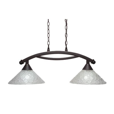 Eisenhauer 2-Light Glass Shade Kitchen Island Pendant Finish: Dark Granite