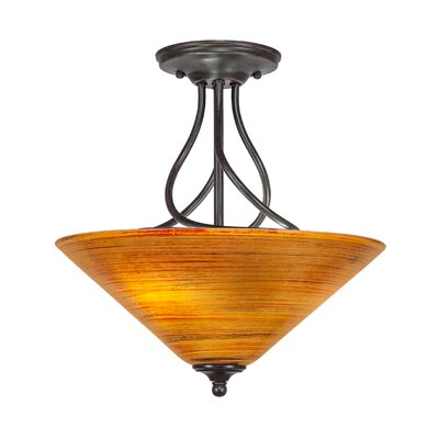 Capri 3-Light Semi-Flush Mount Shade Color: Cayenne Linen