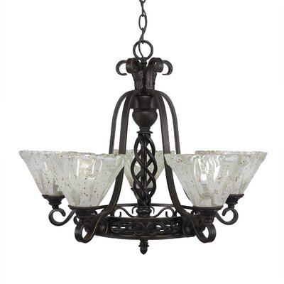 Elegant� 5-Light Shaded Chandelier Shade: Italian Ice Glass