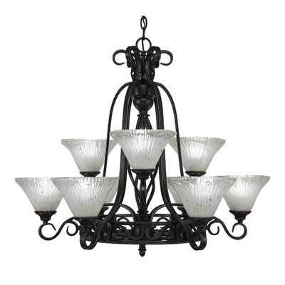Elegant� 9-Light Shaded Chandelier Shade: Frosted Crystal Glass