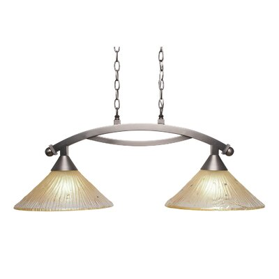 Bow 2-Light Kitchen Island Pendant Finish: Brushed Nickel