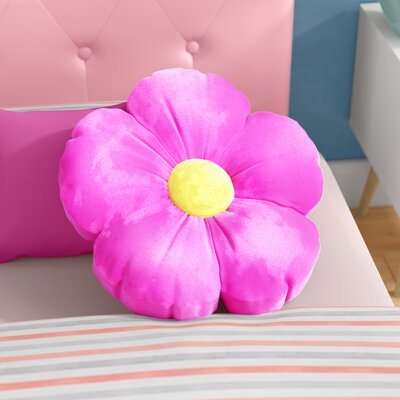 Judah Daisy Flower Plush Floor Pillow Size: Medium, Color: Hot Pink