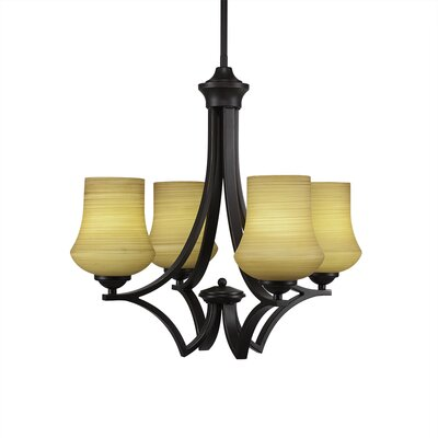 Zilo 4-Light Shaded Chandelier Finish: Matte Black, Shade Color: Cayenne