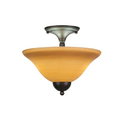 2-Light Semi Flush Mount Finish: Bronze, Shade Color: Cayenne