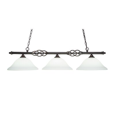 Elegante 3-Light Kitchen Island Pendant Shade Color: White