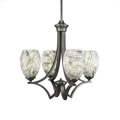 Zilo 4-Light Shaded Chandelier Finish: Graphite, Shade Color: Natural