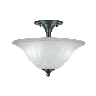 2-Light Semi Flush Mount Finish: Matte Black, Shade Color: White