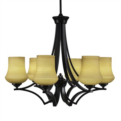 Zilo 6-Light Shaded Chandelier Finish: Matte Black, Shade Color: Cayenne