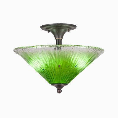 2-Light Semi Flush Mount Finish: Dark Granite, Shade Color: Kiwi Green